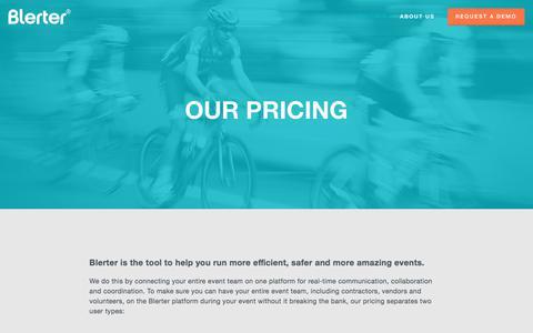 Screenshot of Pricing Page blerter.com - Pricing — Blerter   Communication & Collaboration for Event Teams - captured July 14, 2018