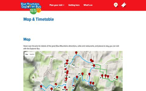 Screenshot of Maps & Directions Page explorerbus.com.au - Map & Timetable | Blue Mountains Explorer Bus - captured May 30, 2016