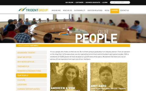 Screenshot of Team Page tridentindia.com - TRIDENT GROUP :: CAREERS :: OUR PEOPLE - captured Sept. 23, 2014