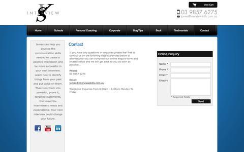 Screenshot of Contact Page interviewskills.com.au - Successful Interview Skills - captured Sept. 30, 2014