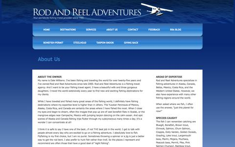 Screenshot of About Page rodreeladventures.com - Rod and Reel Adventures - About Us - captured Oct. 1, 2014