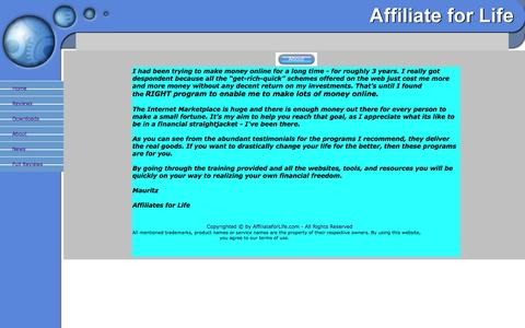 Screenshot of About Page affiliateforlife.com - About - captured Oct. 30, 2014