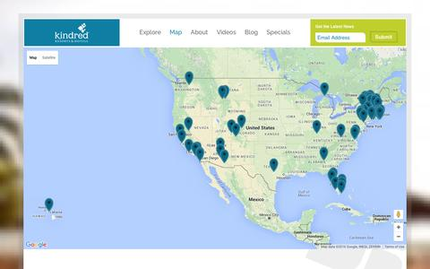 Screenshot of Maps & Directions Page meetkindred.com - Corporate Retreat Locations Map   Kindred Resorts & Hotels - captured March 1, 2016