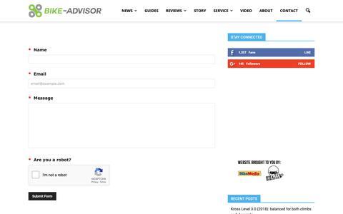 Screenshot of Contact Page bike-advisor.com - Contact Bike Advisor - captured Oct. 10, 2018