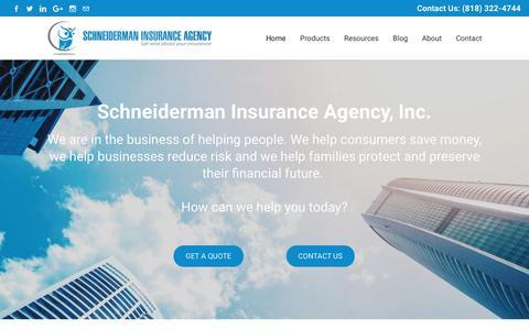 Screenshot of Home Page schneidermaninsurance.com - Schneiderman Insurance Agency, Inc. - Independent Insurance Agency - captured Oct. 2, 2018
