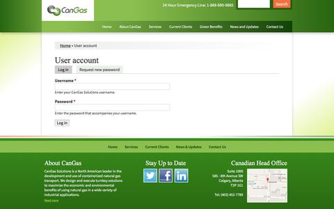 Screenshot of Login Page cangassolutions.com - User account | CanGas Solutions - captured Jan. 24, 2016