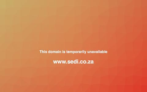 Screenshot of Home Page sedi.co.za captured March 17, 2018