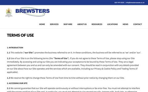 Screenshot of Terms Page brewsterswaste.co.uk - Terms of Use | Brewster's Waste Management - captured Oct. 6, 2018