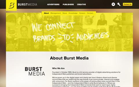 Screenshot of About Page burstmedia.com - About Burst Media – A Provider of Digital Advertising Solutions since 1995 - captured Sept. 12, 2014