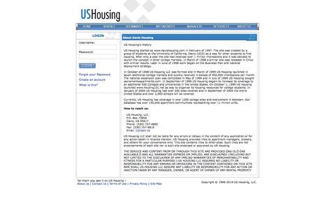 Screenshot of About Page ushousing.com - ushousing.com - About Us - captured Oct. 4, 2014