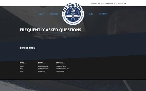Screenshot of FAQ Page paxind.com - FAQ - - captured Sept. 27, 2018