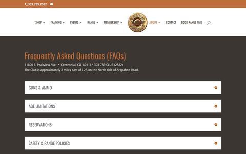 Screenshot of FAQ Page centennialgunclub.com - FAQs | Centennial Gun Club - captured May 15, 2017