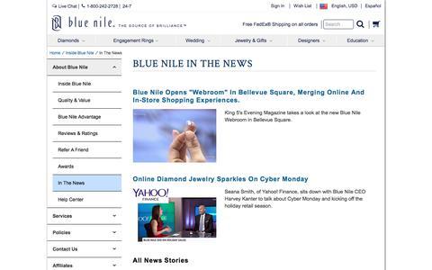 Screenshot of Press Page bluenile.com - In The News | Blue Nile - captured Feb. 22, 2017
