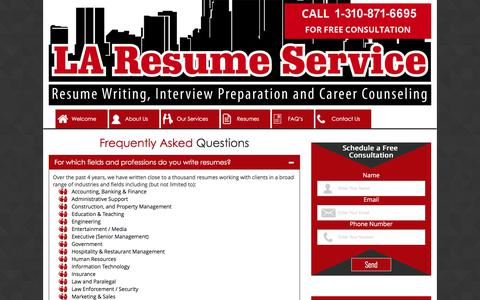 Screenshot of FAQ Page laresumeservice.com - Frequently Asked Questions about the LA Resume Service - captured Sept. 9, 2017