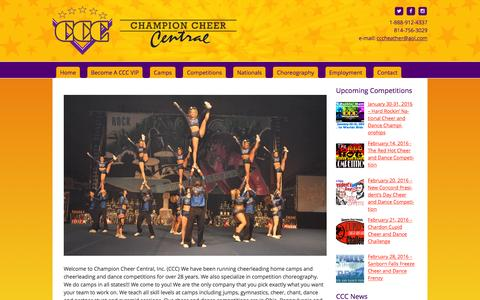 Screenshot of Home Page championcheercentral.com - Cheerleading Competitions | Cheerleading Nationals | Cheer Camps - - captured Jan. 27, 2016