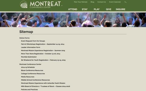 Screenshot of Site Map Page montreat.org - Sitemap - Montreat Conference Center - captured Oct. 26, 2014