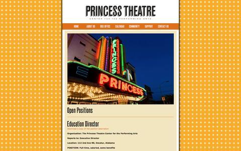 Screenshot of Jobs Page princesstheatre.org - Princess Theatre - captured Nov. 12, 2016