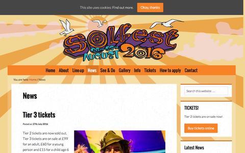 Screenshot of Press Page solfest.org.uk - News - Solfest - captured Aug. 14, 2016