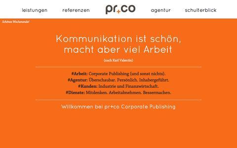 Screenshot of Home Page prco.de - pr+co Stuttgart, München: Agentur für Corporate Publishing, Kundenmagazine, Mitarbeiterzeitschriften - captured Oct. 3, 2014