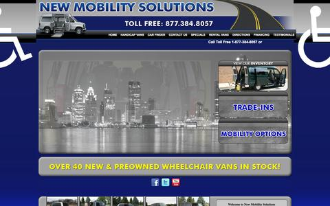 Screenshot of Home Page newmobilitysolutions.com - New Mobility Solutions Wheelchair Vans Jackson Brooklyn Clarklake Used Vans For Sale Jackson 49202 - captured Sept. 30, 2014