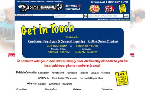 Screenshot of Locations Page kmstools.com - Locations / Contact Us : KMS Tools & Equipment from Vancouver BC, Largest selection of tools in Canada - captured Sept. 19, 2014