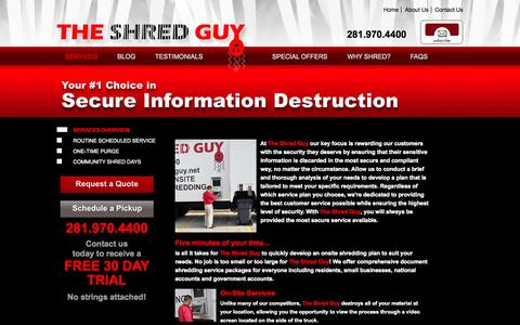 Screenshot of Services Page theshredguy.net - Paper Shredding Services | Document Shredding - The Shred Guy - captured Oct. 9, 2014