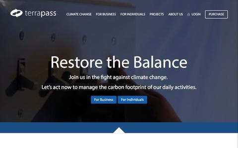 Screenshot of Home Page terrapass.com - TerraPass: Buy Carbon Offsets to Reduce Carbon Footprint - captured Jan. 16, 2016