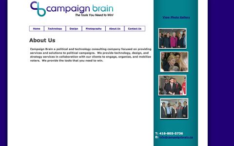 Screenshot of About Page campaignbrain.ca - Campaign Brain :: Political Campaigns, Information Technology, Political Photography, Graphic Design Campaign Operations Strategists. - captured May 14, 2017