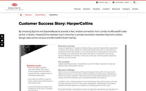 Screenshot of Case Studies Page equinix.com - HarperCollins Customer Success Story | Equinix - captured Dec. 29, 2017