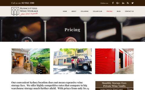 Screenshot of Pricing Page rushcutterswinestorage.com.au - Pricing | Wine Storage | Rushcutters Wine Storage | Sydney - captured Oct. 20, 2018