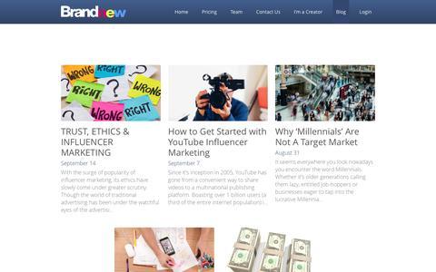 Screenshot of Blog brandnew.io - Blog - Brandnew: Content Creator Platform - captured Sept. 20, 2016