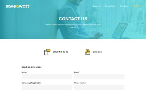 Screenshot of Contact Page saveawatt.co.nz - Contact - Saveawatt - captured Sept. 20, 2018