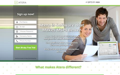 Screenshot of Landing Page atera.com - Atera - A Different kind of MSP sofware - captured Feb. 26, 2016