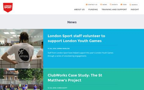 Screenshot of Press Page londonsport.org - News - captured July 17, 2016