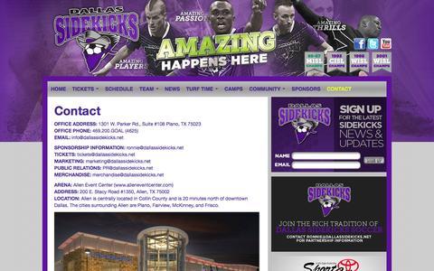 Screenshot of Contact Page dallassidekicks.net - Contact | Dallas Sidekicks - captured Sept. 30, 2014
