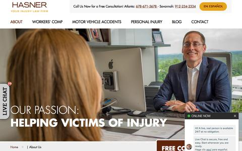 Screenshot of About Page hasnerlaw.com - About Us | Hasner Law PC - captured Sept. 21, 2019