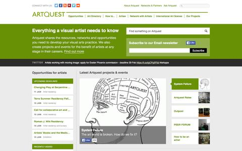 Screenshot of Home Page artquest.org.uk - Artquest - captured Dec. 26, 2015