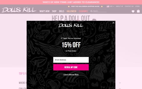 Screenshot of Support Page dollskill.com - Customer Service | Dolls Kill - captured Oct. 26, 2019