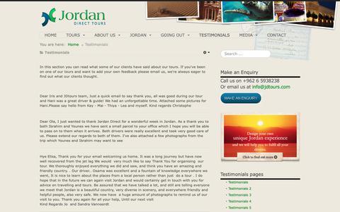 Screenshot of Testimonials Page jdtours.com - Jordan Direct Tours | testimonials by our clients - captured Oct. 14, 2018
