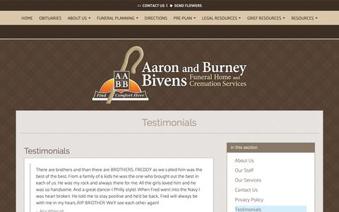 Screenshot of Testimonials Page bivensfuneralhome.com - Aaron and Burney Bivens Funeral Home and Cremation Services | Orange Park FL funeral home and cremation - captured Oct. 2, 2018
