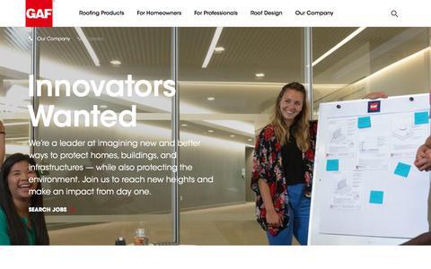 Screenshot of Jobs Page gaf.com - GAF | Careers - captured April 15, 2018