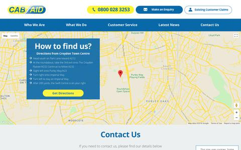 Screenshot of Contact Page cabaid.co.uk - CabAid - Replacement Taxi and Accident Compensation - captured July 15, 2018