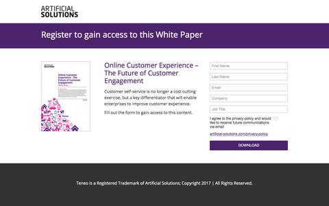 Screenshot of Landing Page artificial-solutions.com - Online Customer Experience – The Future of Customer Engagement - captured Sept. 19, 2018