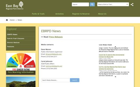 Screenshot of Press Page ebparks.org - EBRPD - EBRPD News - captured Sept. 26, 2018