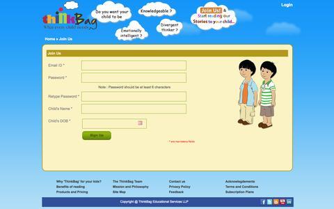Screenshot of Signup Page think-bag.com - ThinkBag - captured Sept. 30, 2014