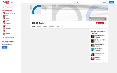 Screenshot of YouTube Page youtube.com - CBORD Social  - YouTube - captured Oct. 26, 2014
