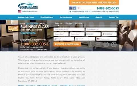 Screenshot of Privacy Page cheapbizclass.com - Privacy Policy - CheapBizClass - captured Dec. 14, 2018