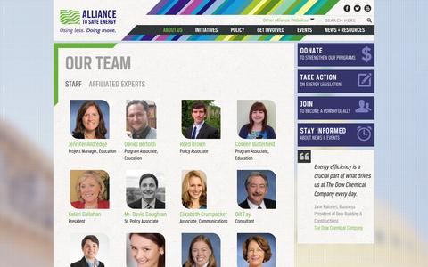 Screenshot of Team Page ase.org - Our Team | Alliance to Save Energy - captured Sept. 23, 2014