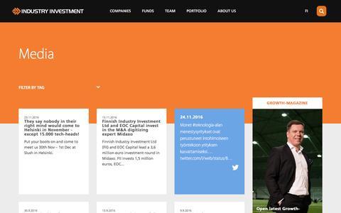 Screenshot of Press Page industryinvestment.com - Media   Industry Investment - captured Nov. 25, 2016