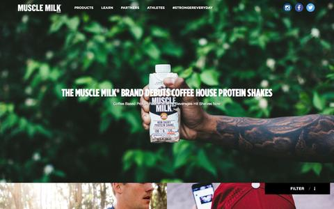 Screenshot of Press Page musclemilk.com - Muscle Milk™ | Maximize your recovery with the protein in MUSCLE MILK® shakes & powders to help you get Stronger Everyday. - captured Dec. 5, 2016